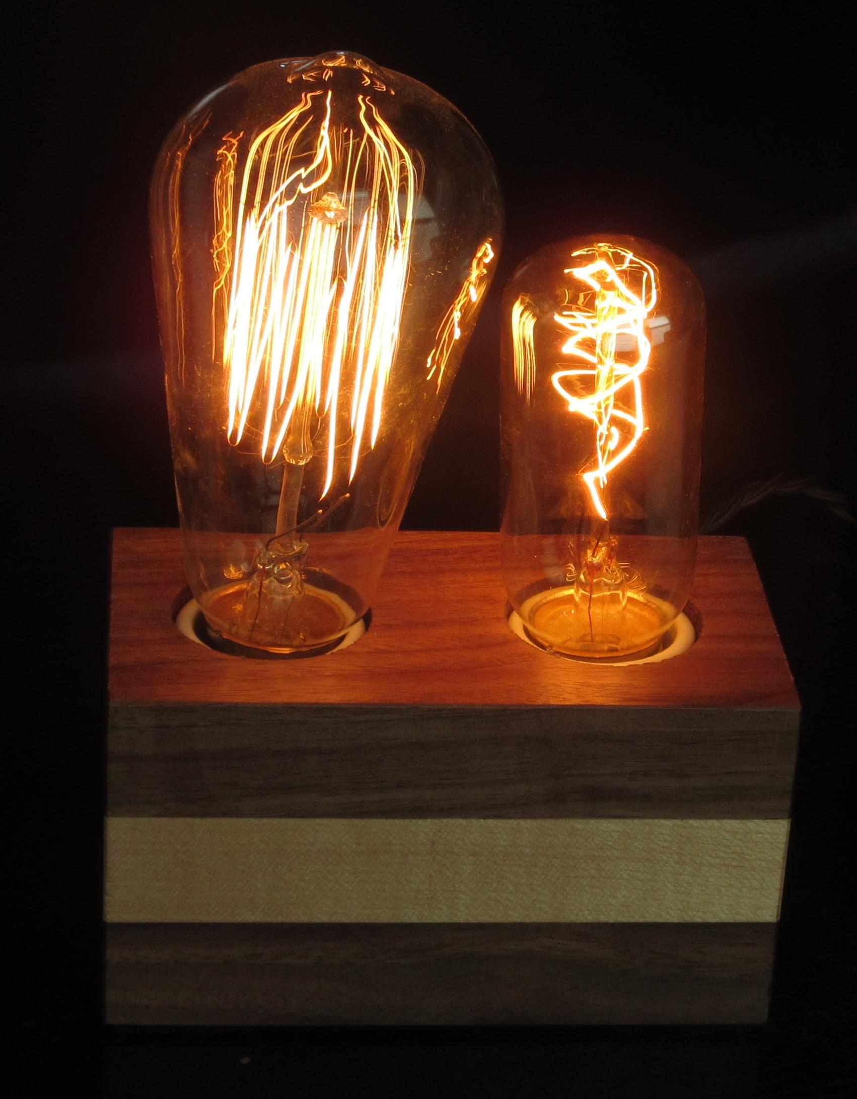 Walnut with Horizontal Maple Stripe - 2 lamps