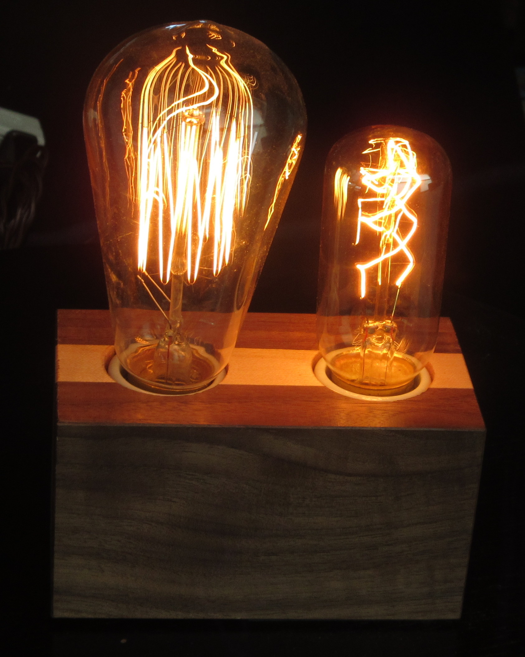 Walnut with Vertical Maple Stripe - 2 lamps