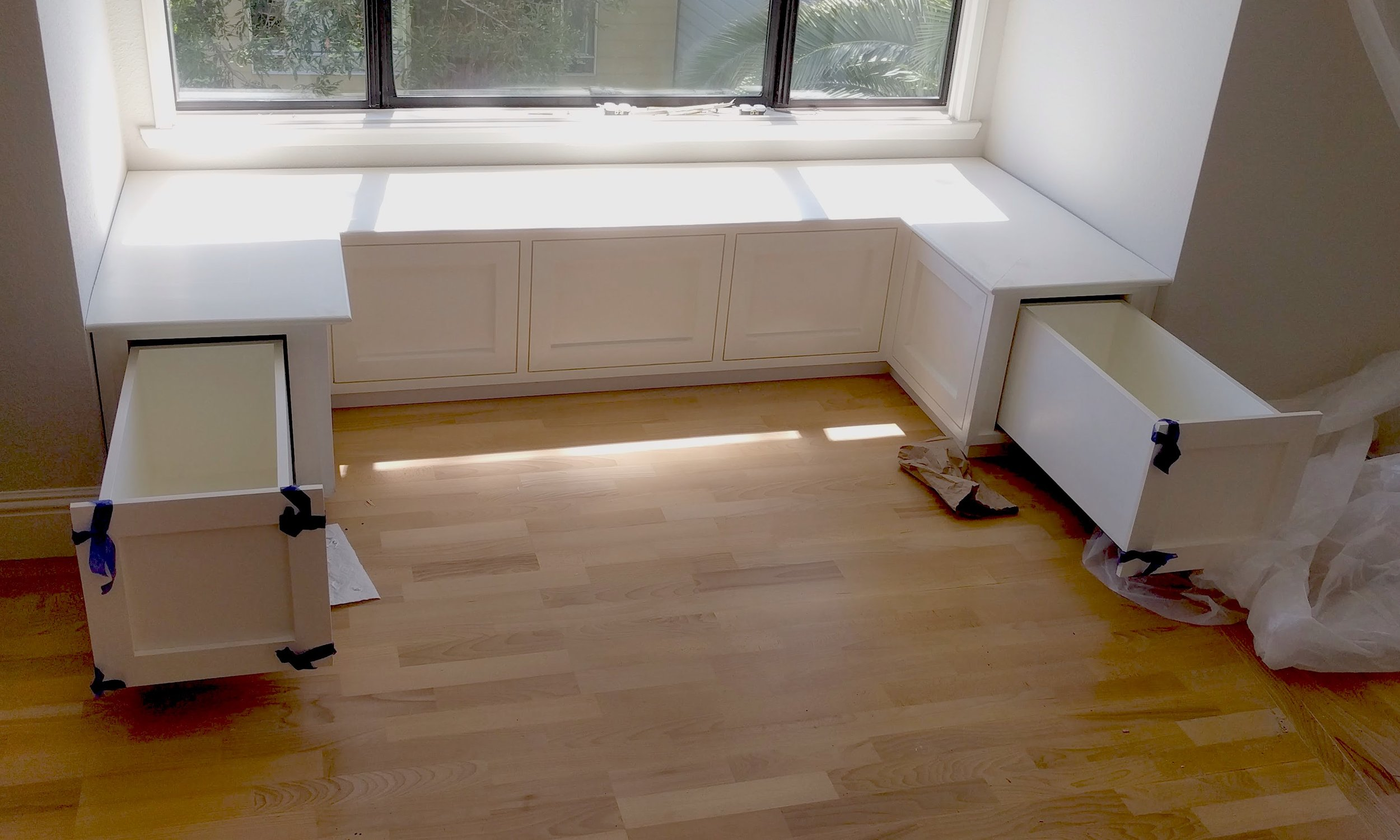 """24"""" deep storage drawers on breakfast nook; Mike of MEMGC did the overall remodel"""