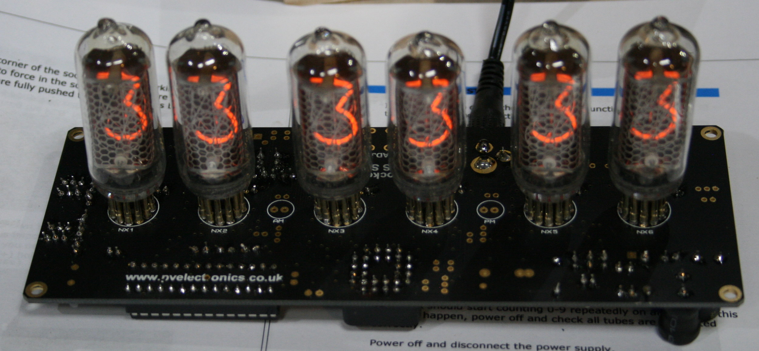 My partially-assembled circuit board with IN-8 tubes