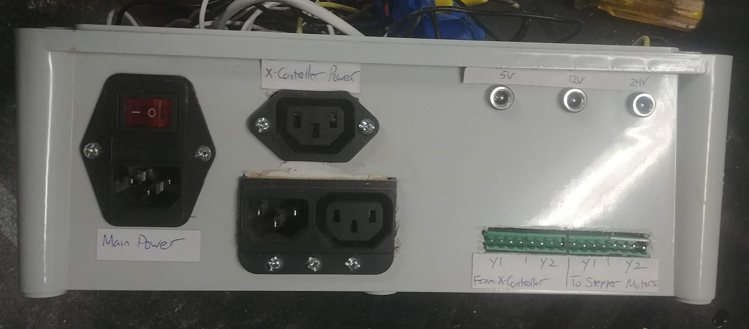 The inputs & outputs for the steppers, the main power, and various low voltage supplies.
