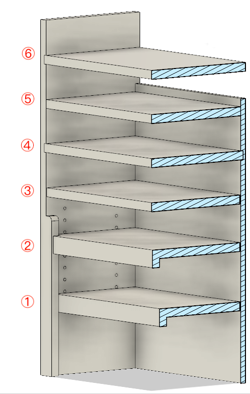 Three styles of adjustable shelves (#1 - #3), and three styles of fixed shelves (#4 - #6).