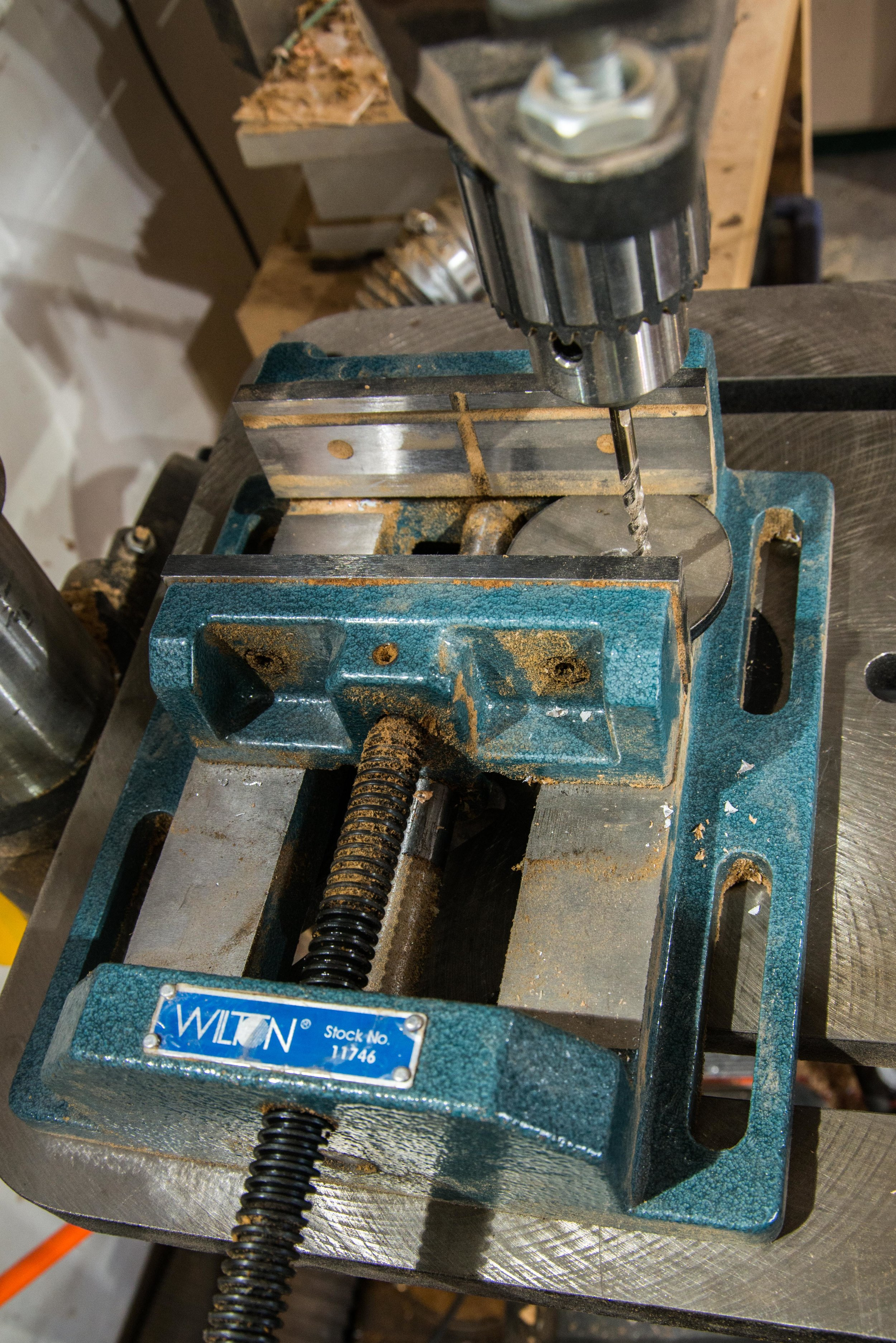 Good that I'm using a drill press vice… but bad that it's not bolted down. In fact, this vice is a recent addition because I neglected to do exactly that.