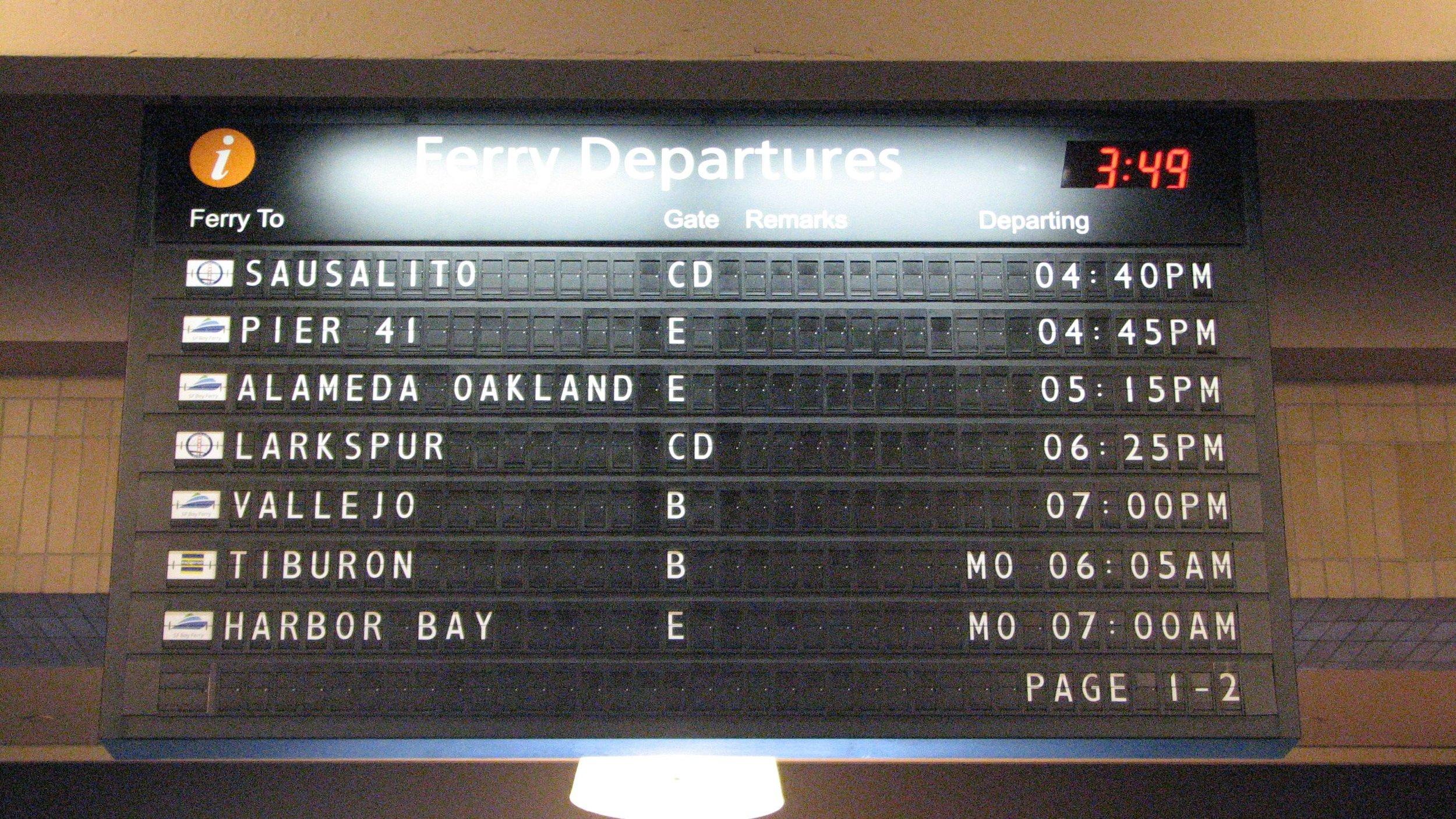 San Francisco ferry building departure board