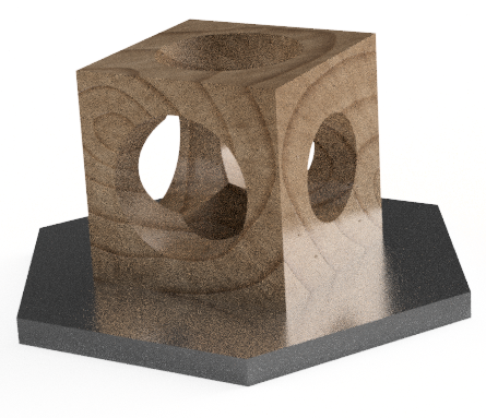 Cube with three conical holes, requiring three milling operations from three different faces to shape.