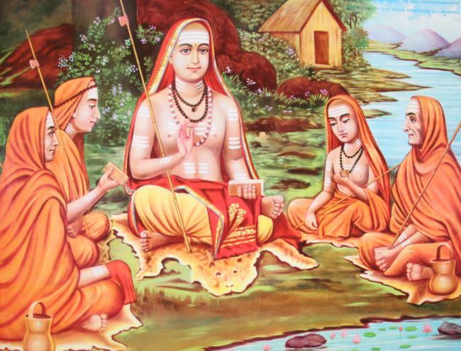 Pintura que representa Shankara con sus discípulos.