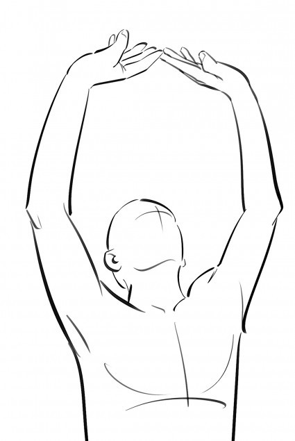 Empuja el cielo: tras ascender por el centro, las manos llegan al cielo, para luego descender por los costados.  Detalle de la ilustración de  Raül Grabau  para   El Tao de la Energía .