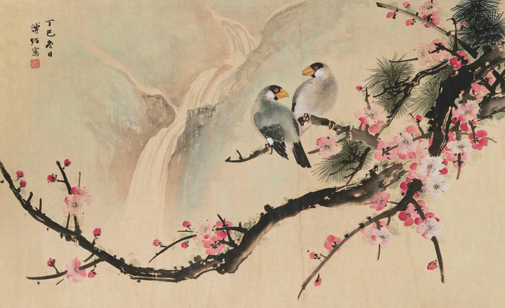 La obra  Birds and Plum   de la artista Pu Zu  (1918-2001),inspirada en las antiguas pinturas tradicionales chinas, caracterizadas por su atenta mirada a la naturaleza y la vida animal.