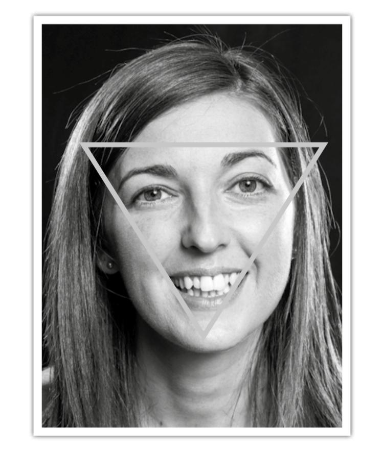 La mirada social se dirige casi exclusivamente al triángulo ojos-nariz-boca