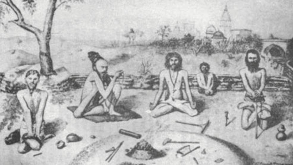 «Sadhus en varias de las posturas prescritas», de Oman, 1903