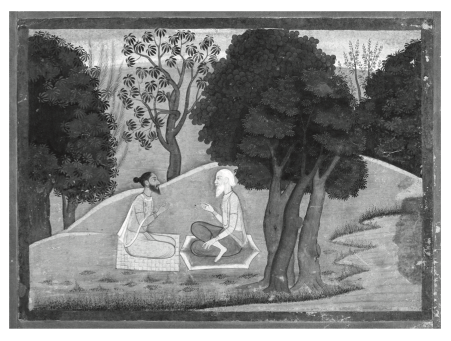 Diálogo entre los sabios Markandeya y Jaimini. Ilustración de un manuscrito del  Markandeya Purana , estilo Pahari,  circa  1785.