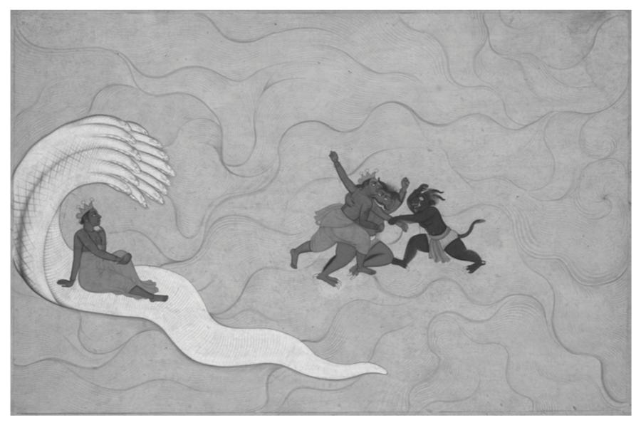 Vishnu combate a los demonios Madhu y Kaitabha. Ilustración de un  Devi Mahatmya ,  circa  1760. Cleveland Museum of Art.