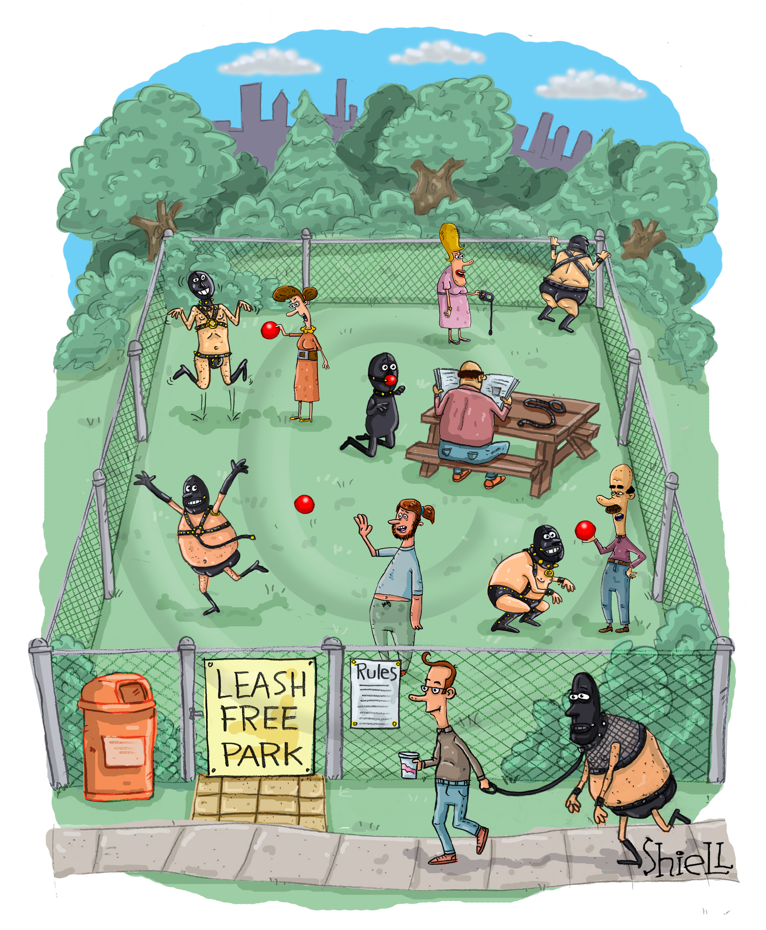 """Leash Free Park. People take their gimps, and S + M rubber and vinyl clad """"pets"""" to run around at the leash free park."""