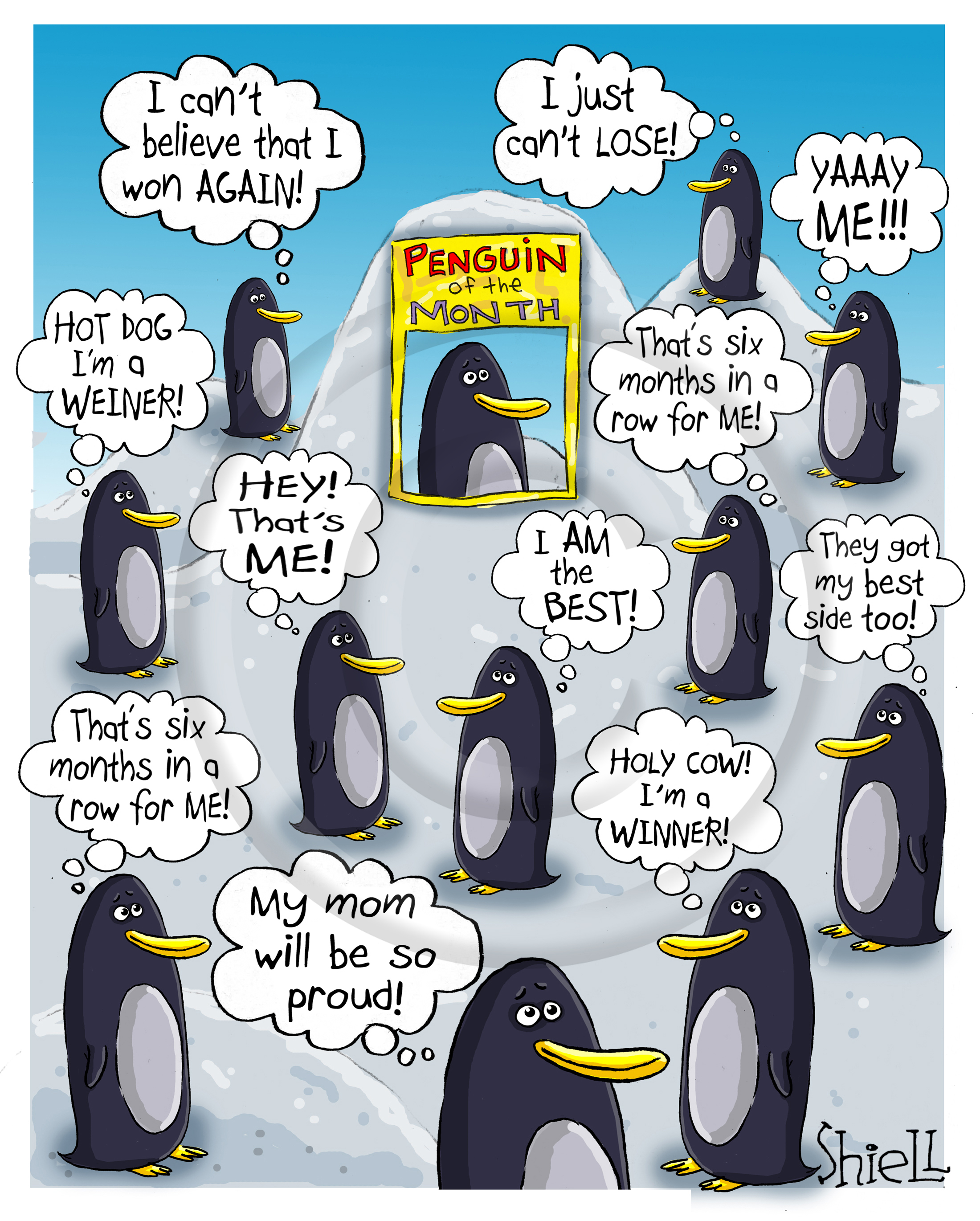 Penguin of the Month. All of the look alike penguins mistakenly think that they are the Penguin of the Month.