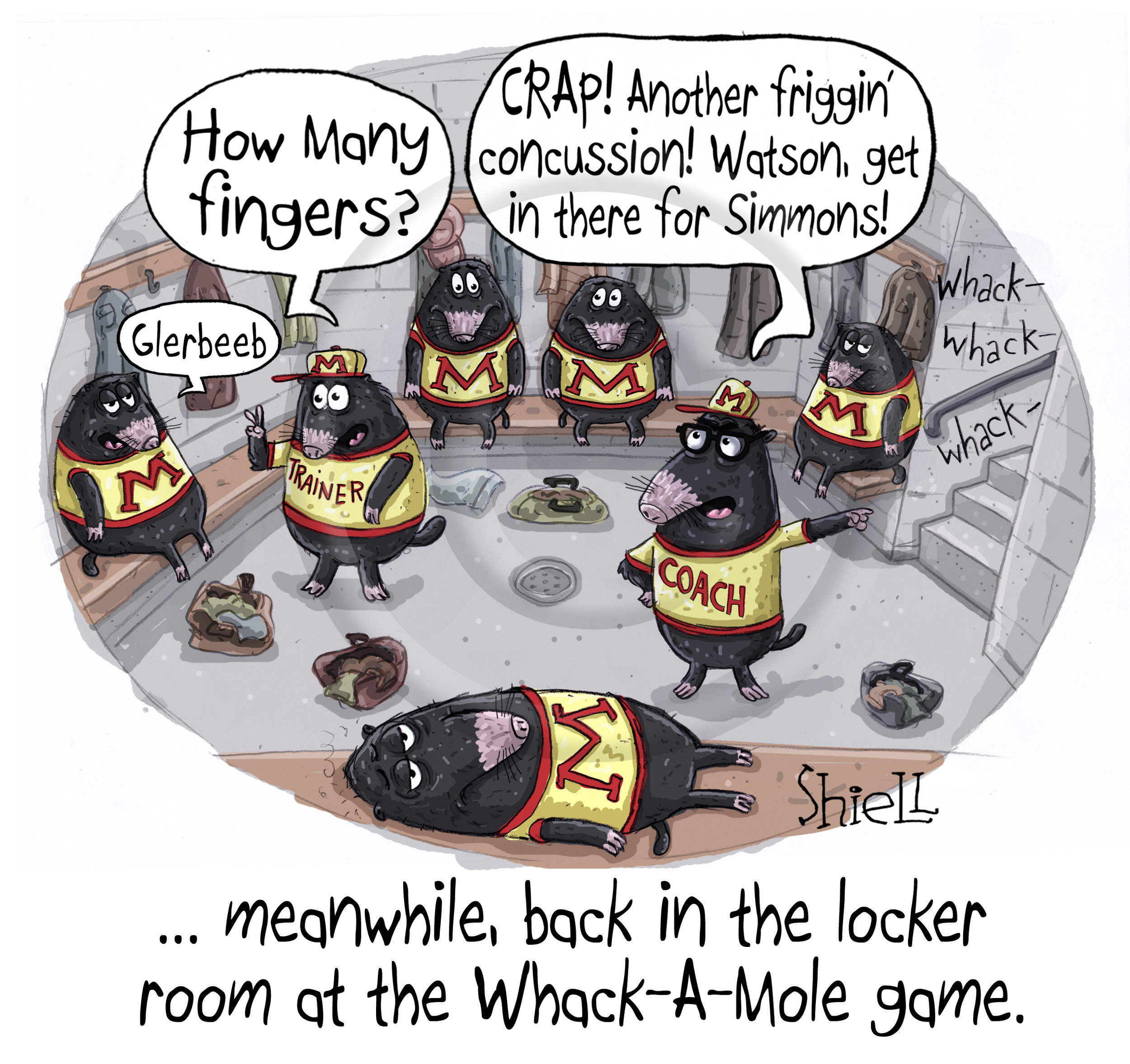 The locker room at the whack-a-mole game.