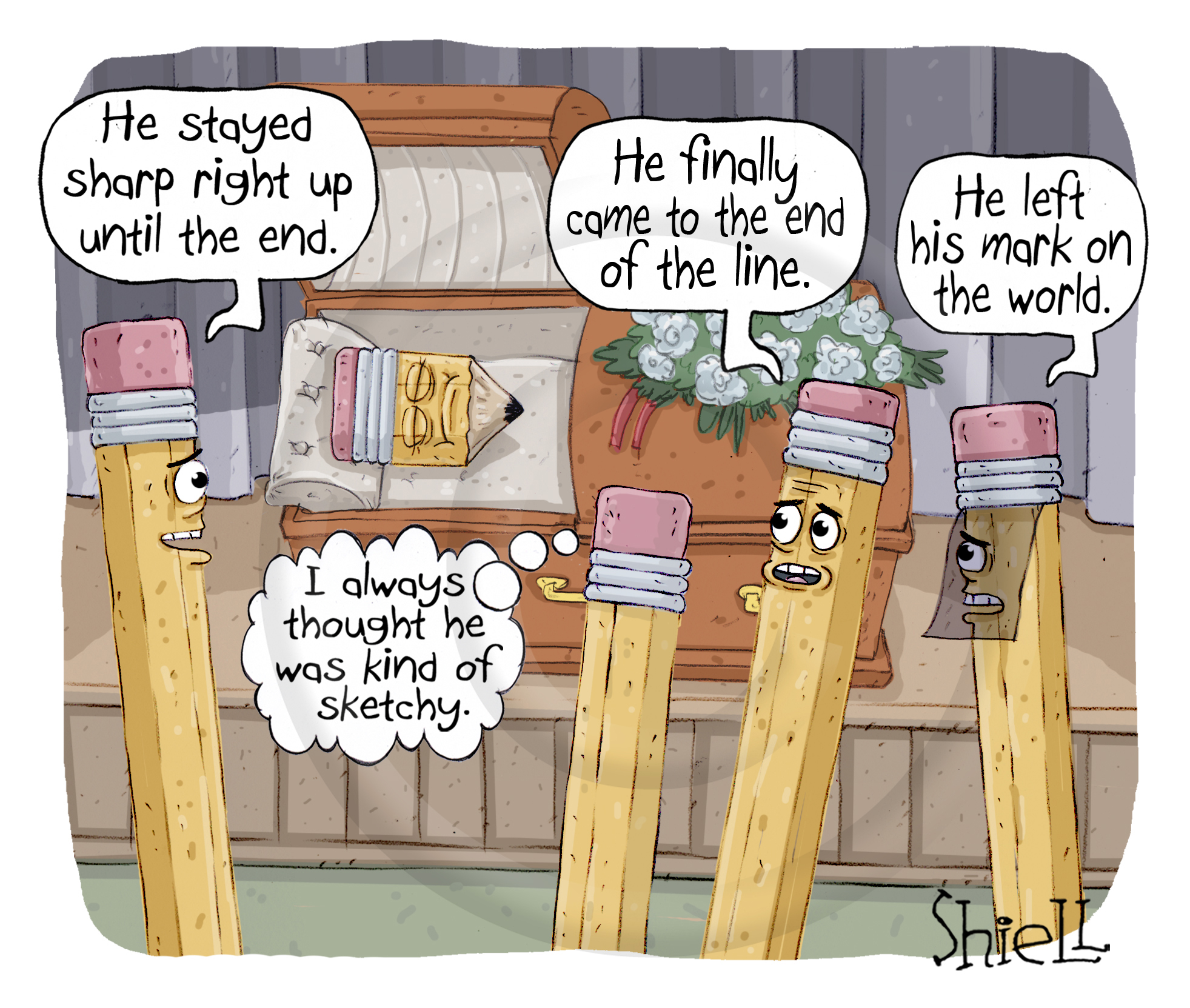 Pencil Funeral. Mourners at a pencil's funeral make really bad pencil puns.