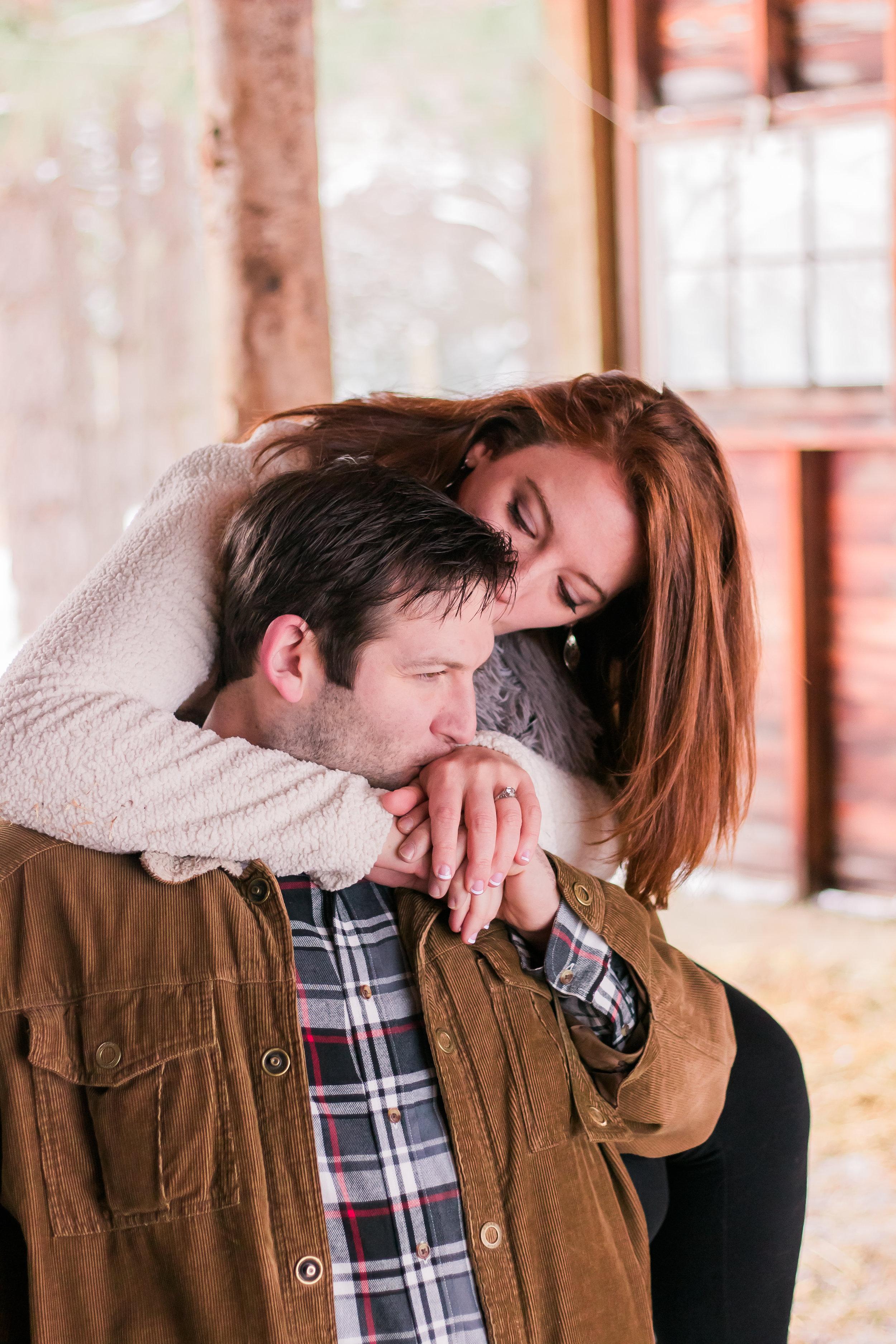 rustic barn engagement photos