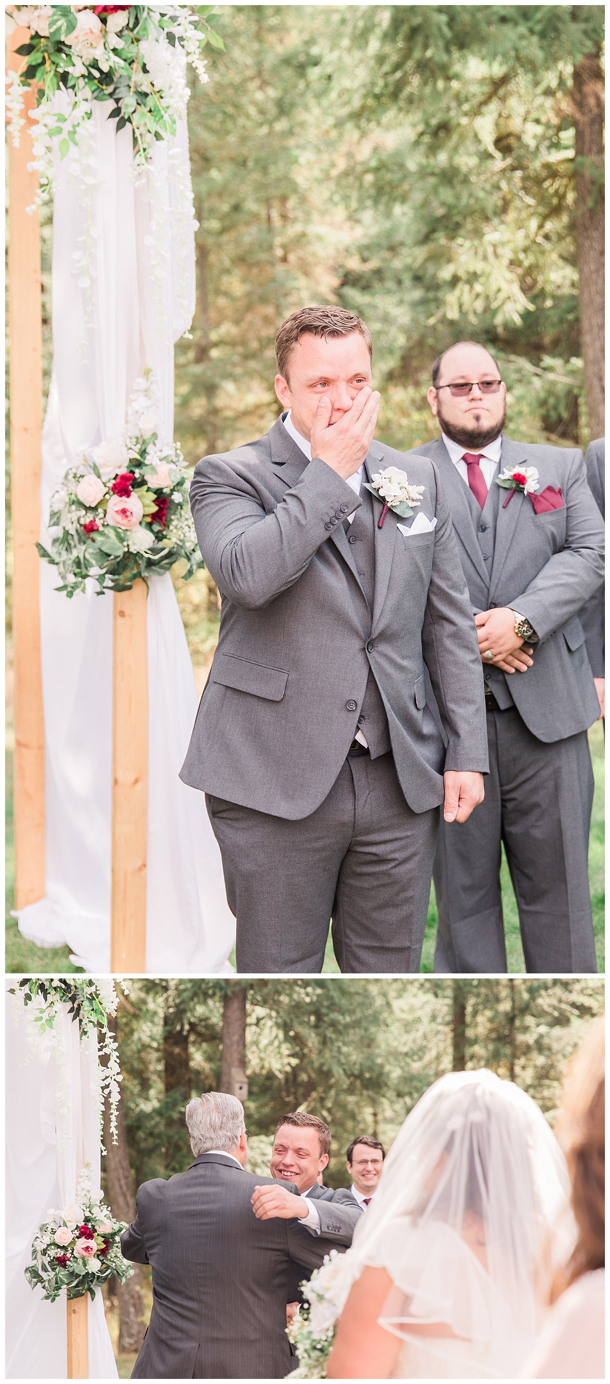 groom's first look face