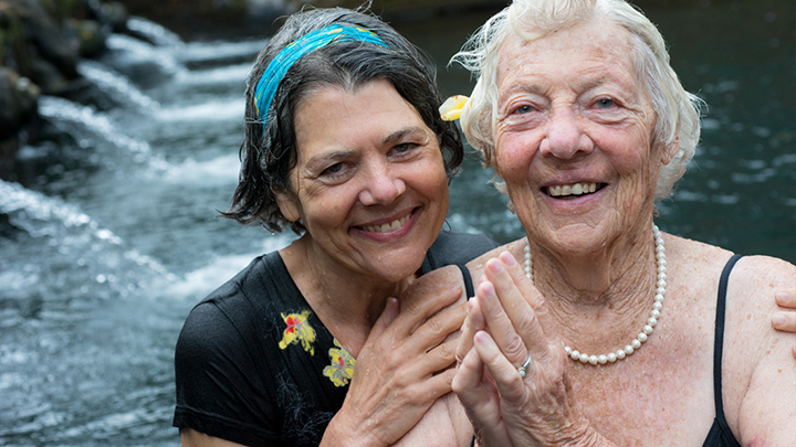 It begins with my own beloved 88-year–old mom facing death . But that's not what I thought about when I started making this movie. She's vibrant today, even if she aches all over at times. This is us August, 2014, after dousing in the cleansing waters of a Balinese Temple.