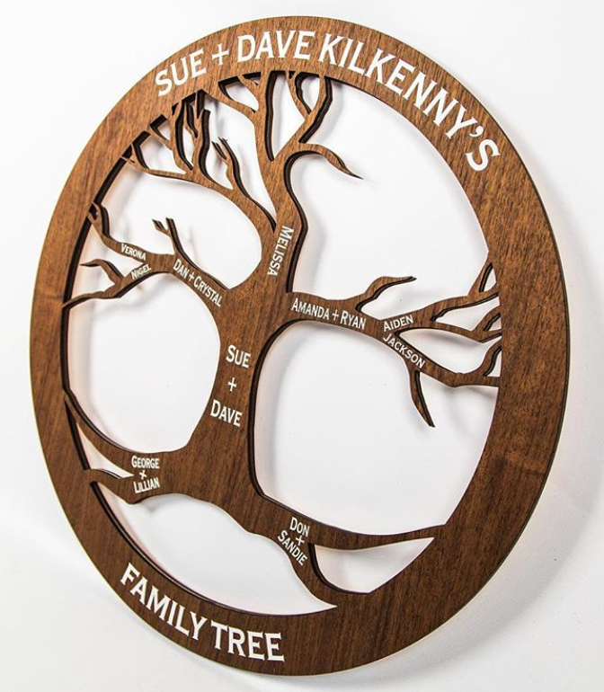 RELATED WORK: Custom designed and fabricated Family Tree, laser cut, etched and white backfilled on Walnut.