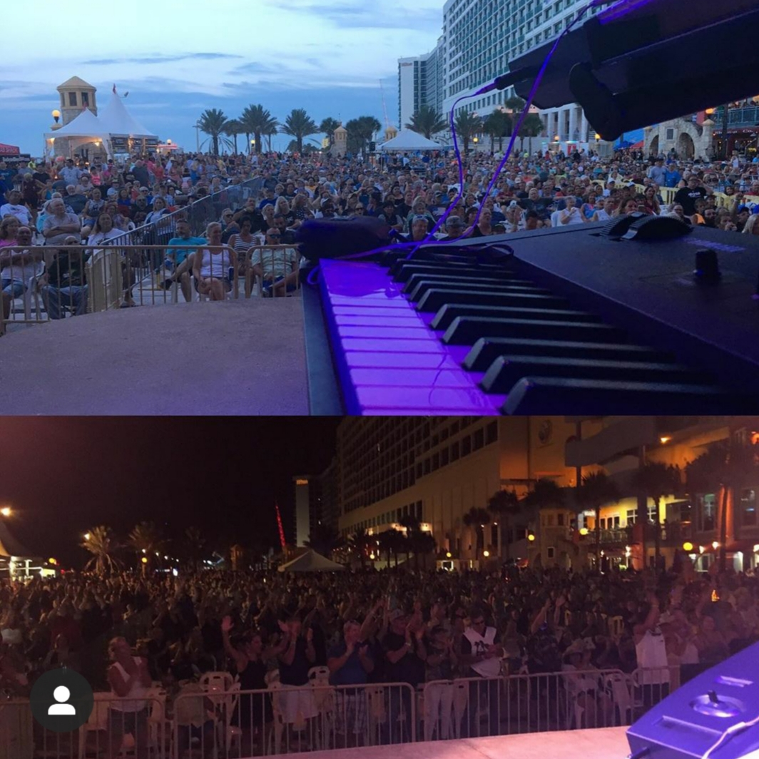 "The view of the crowd in Daytona from ""The Professor's"" - Stevie's throne! Early and late!"