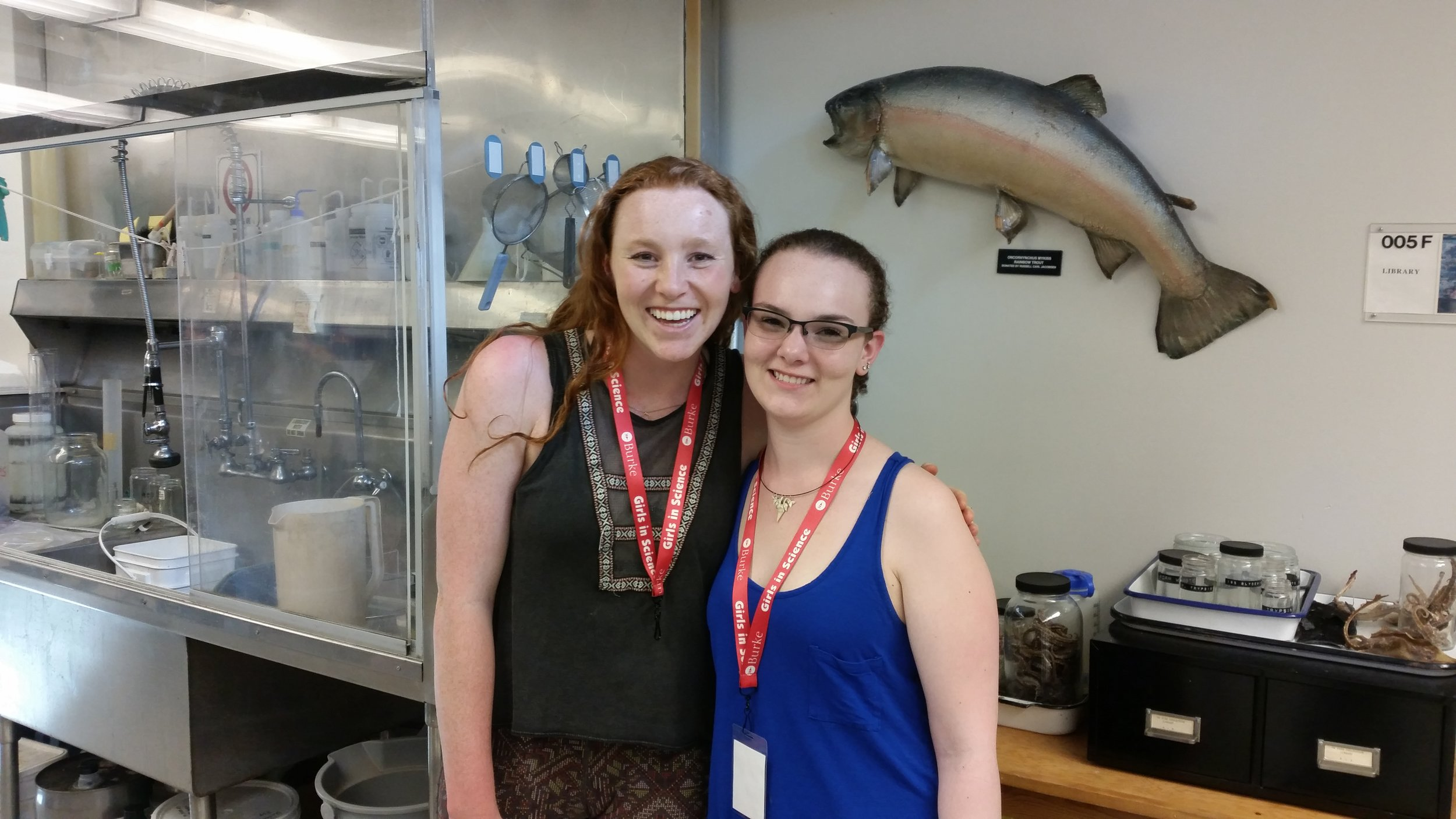 UW Fish Collection staff members and part of the Girls in Science training team,Jalene Weatherholt and Sarah Yerrace.