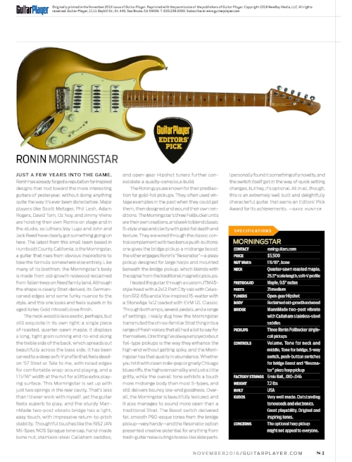 Guitar player magazine review of the ROnin morningstar by david hunter