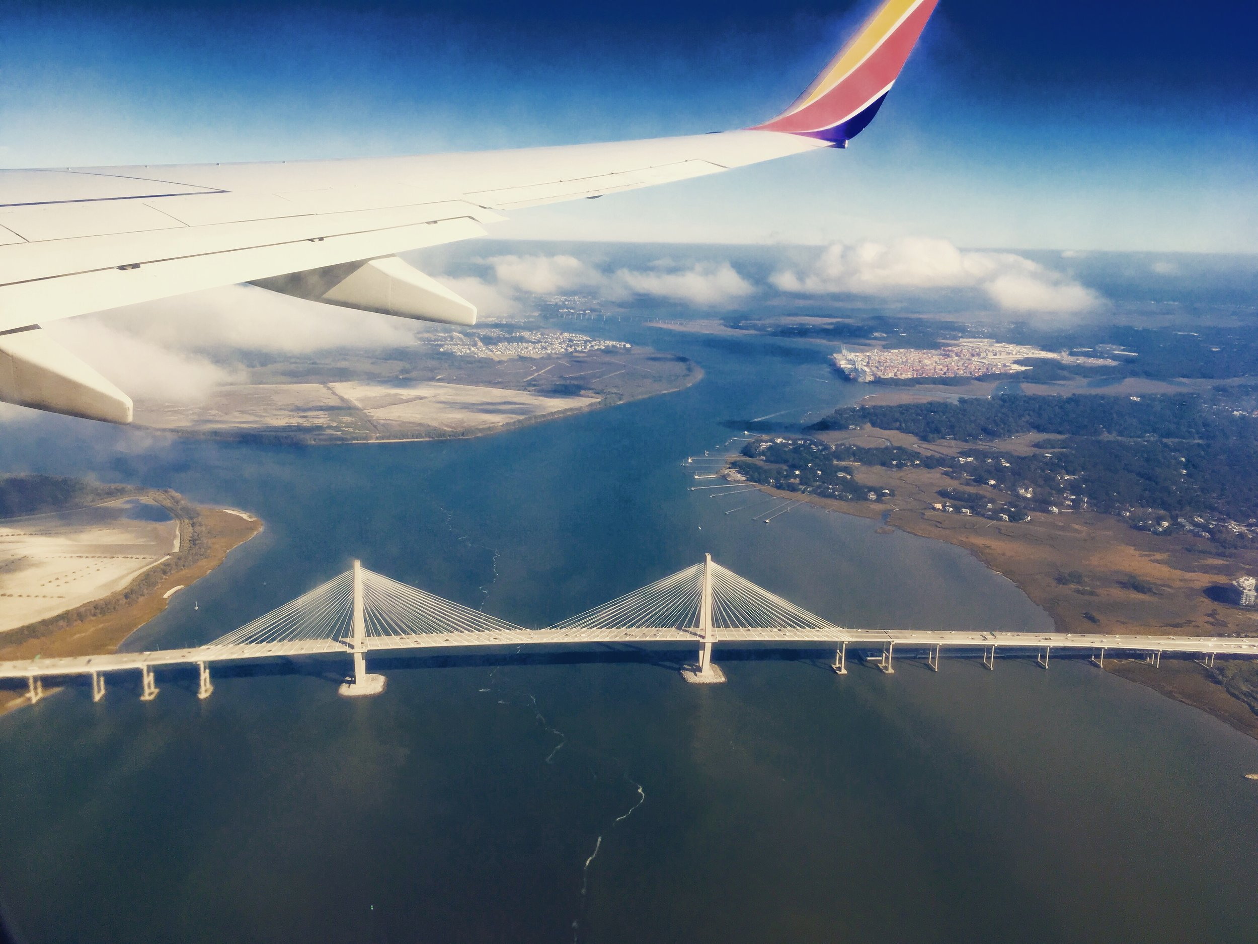 The Arthur Ravenal Jr. Bridge from the air...