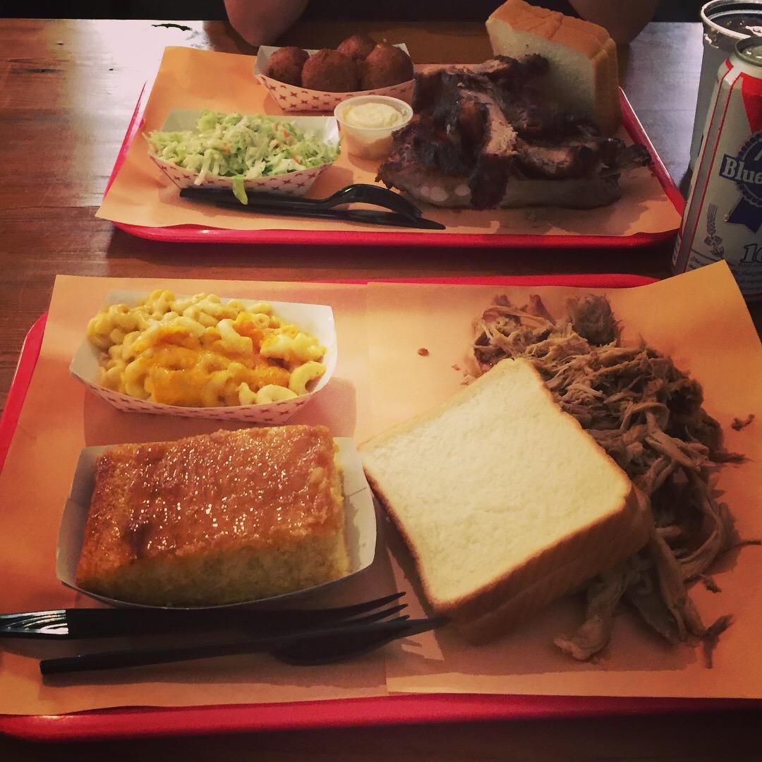 Pulled Pork, Cornbread, Mac & Cheese at Rodney Scott's: Perfection.
