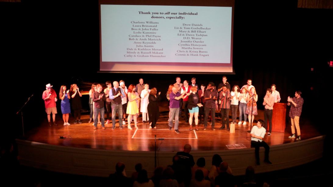 The cast and crew of the 4th Annual 48-Hour Theatre Festival take their bows, July 27, 2019.