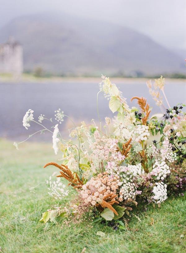 Alice Beasley flowers autumn wedding flower installation