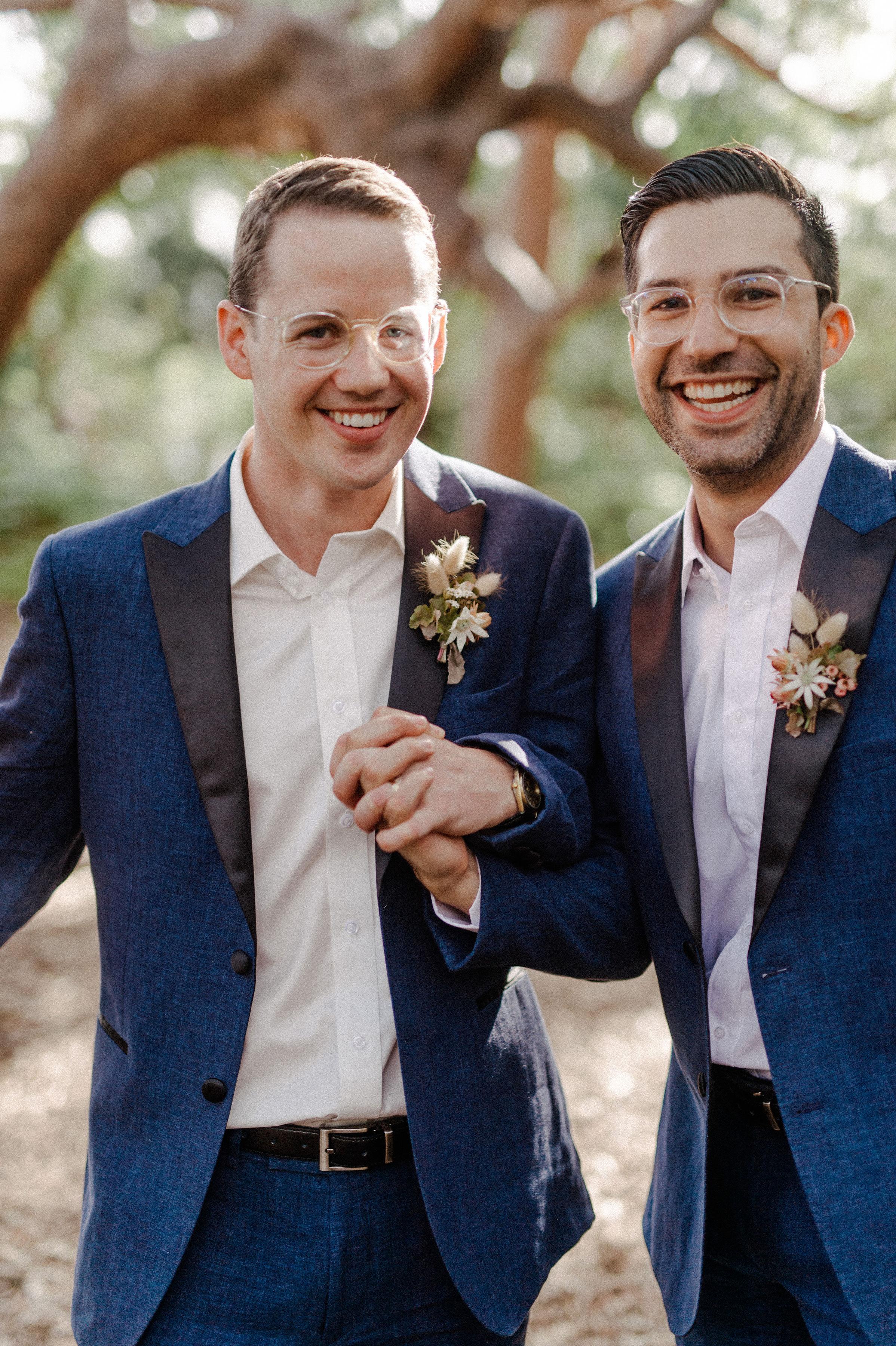 Romantic australian beach wedding buttonholes