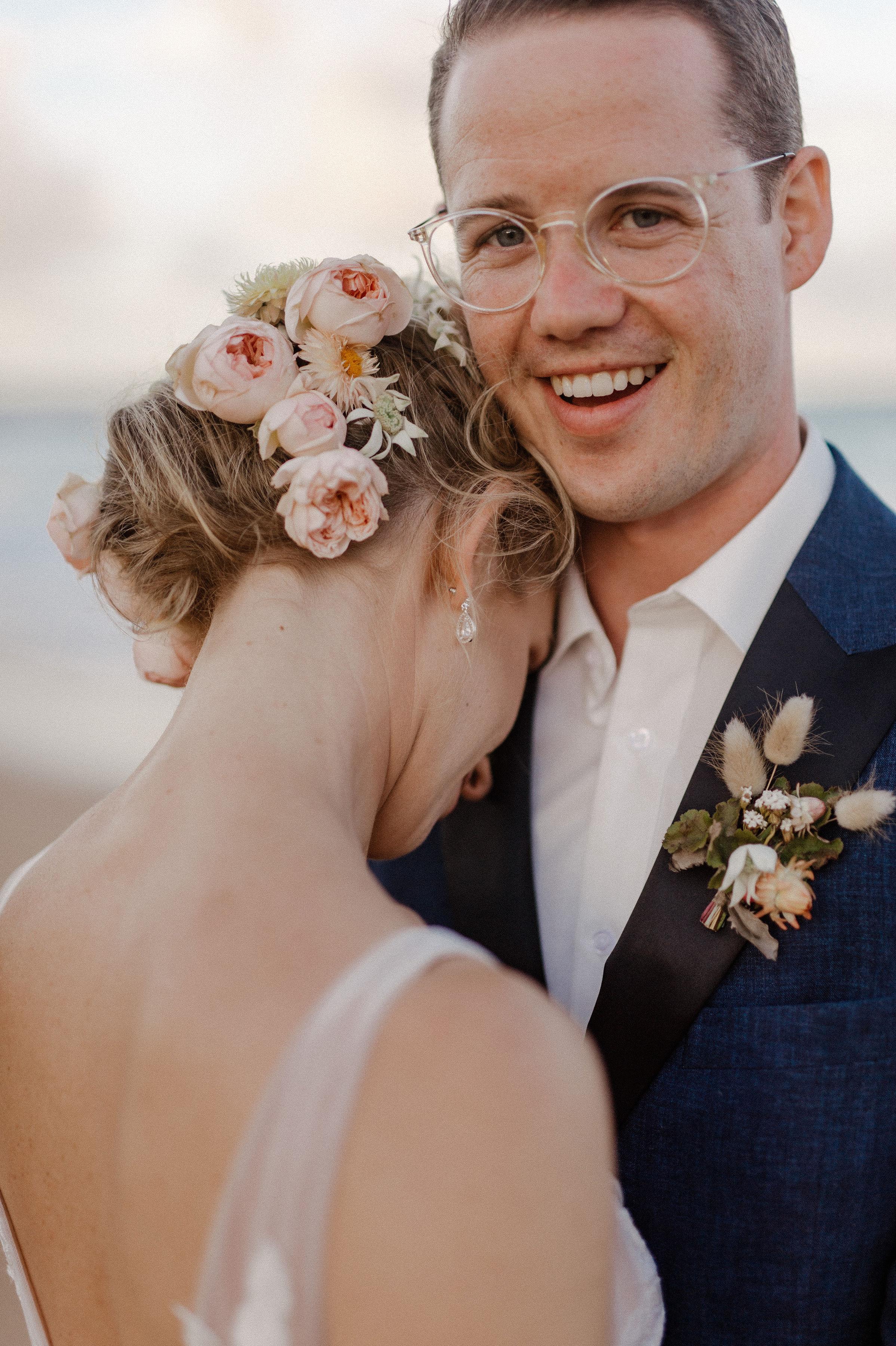 Romantic australian beach wedding. Textural and natural wedding flowers