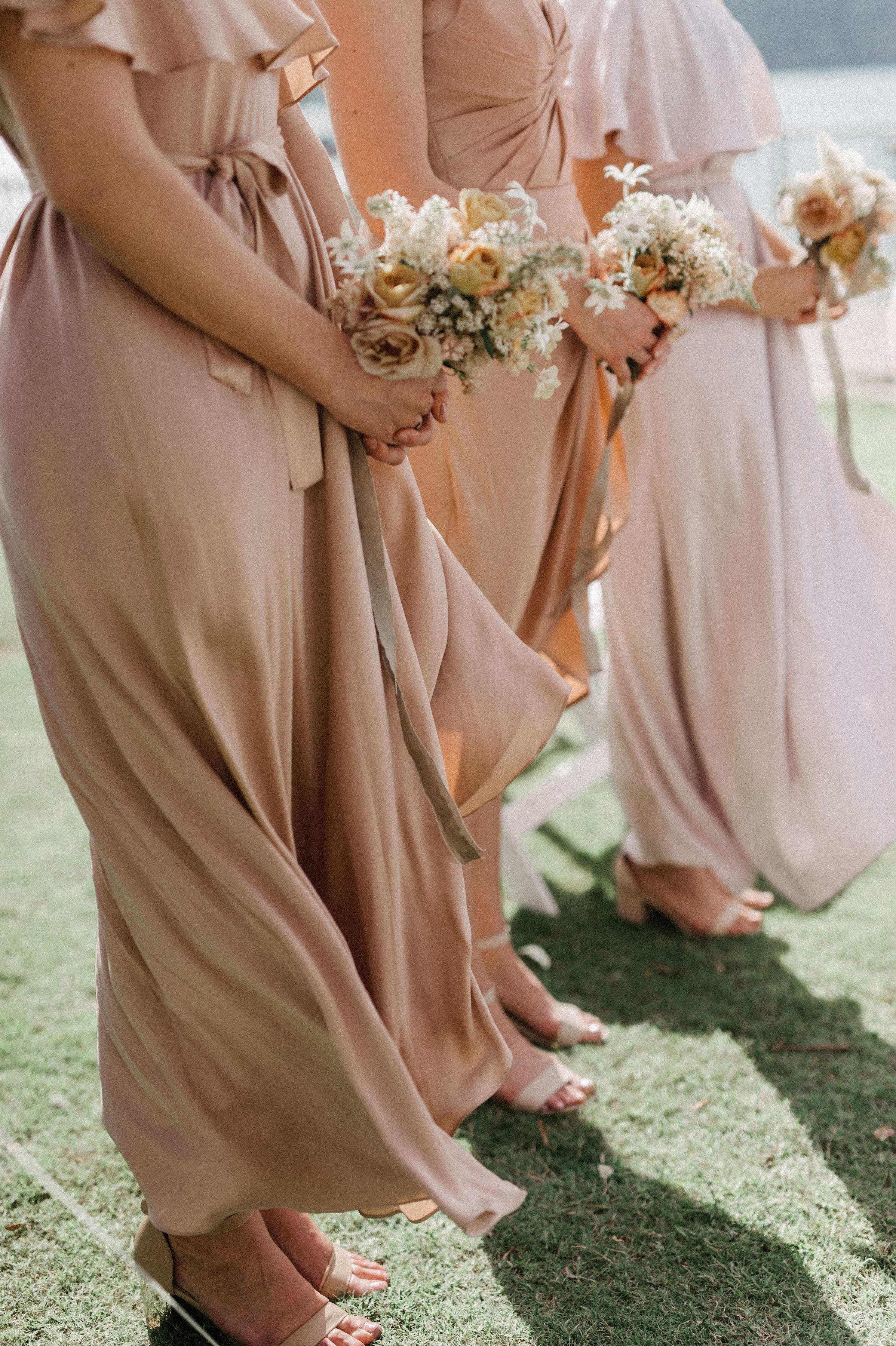 sydney beach wedding. textural and romantic wedding flowers. blush bridesmaid's bouquets