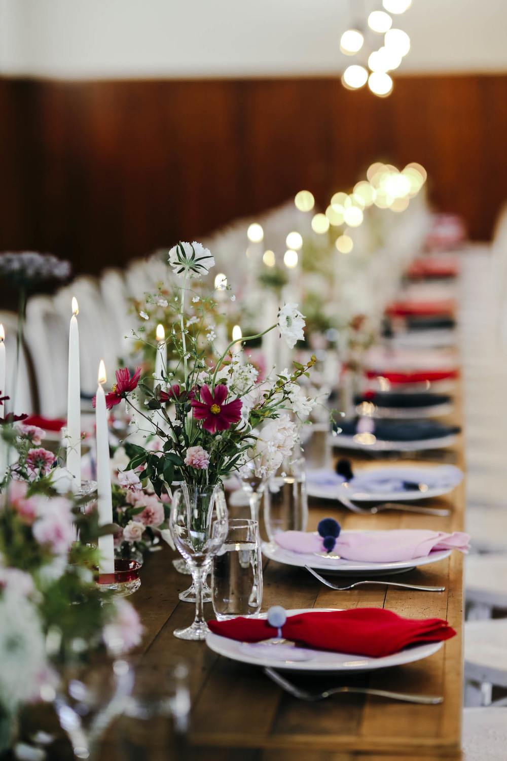 Autumn garden wedding. dahlias and roses.  Wild and organic floral wedding table styling