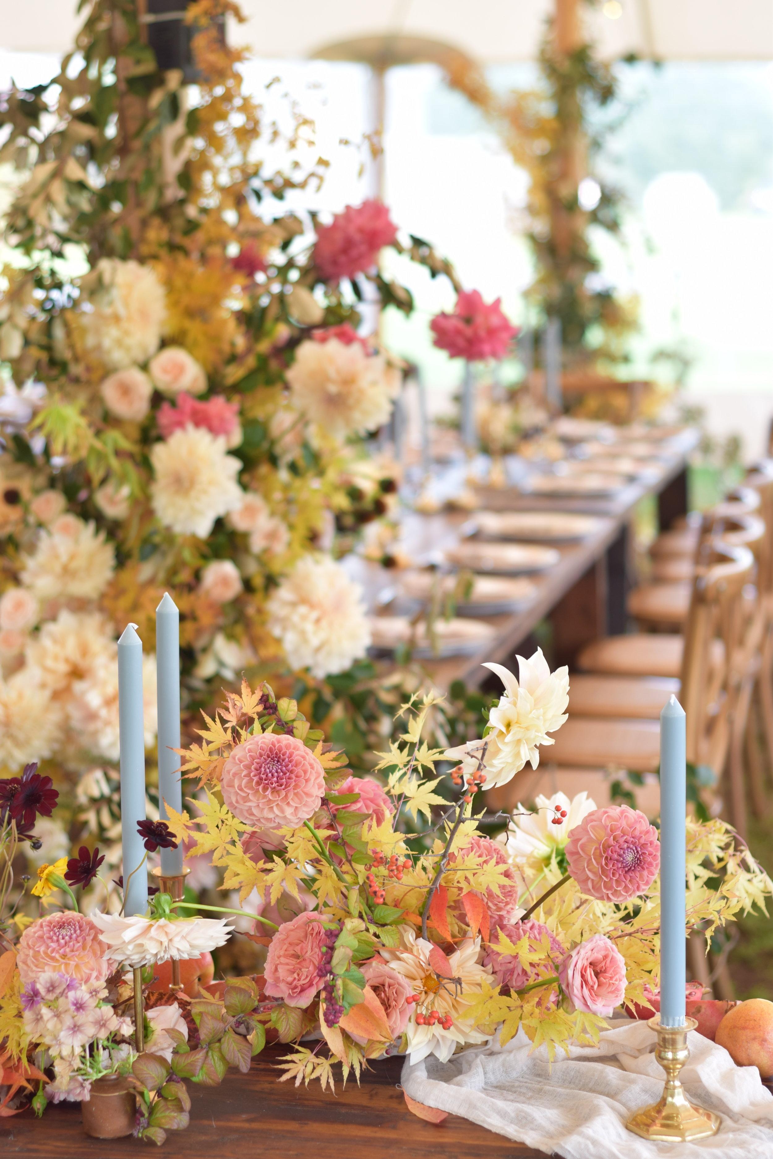 autumn foliage wedding design dahlia and roses