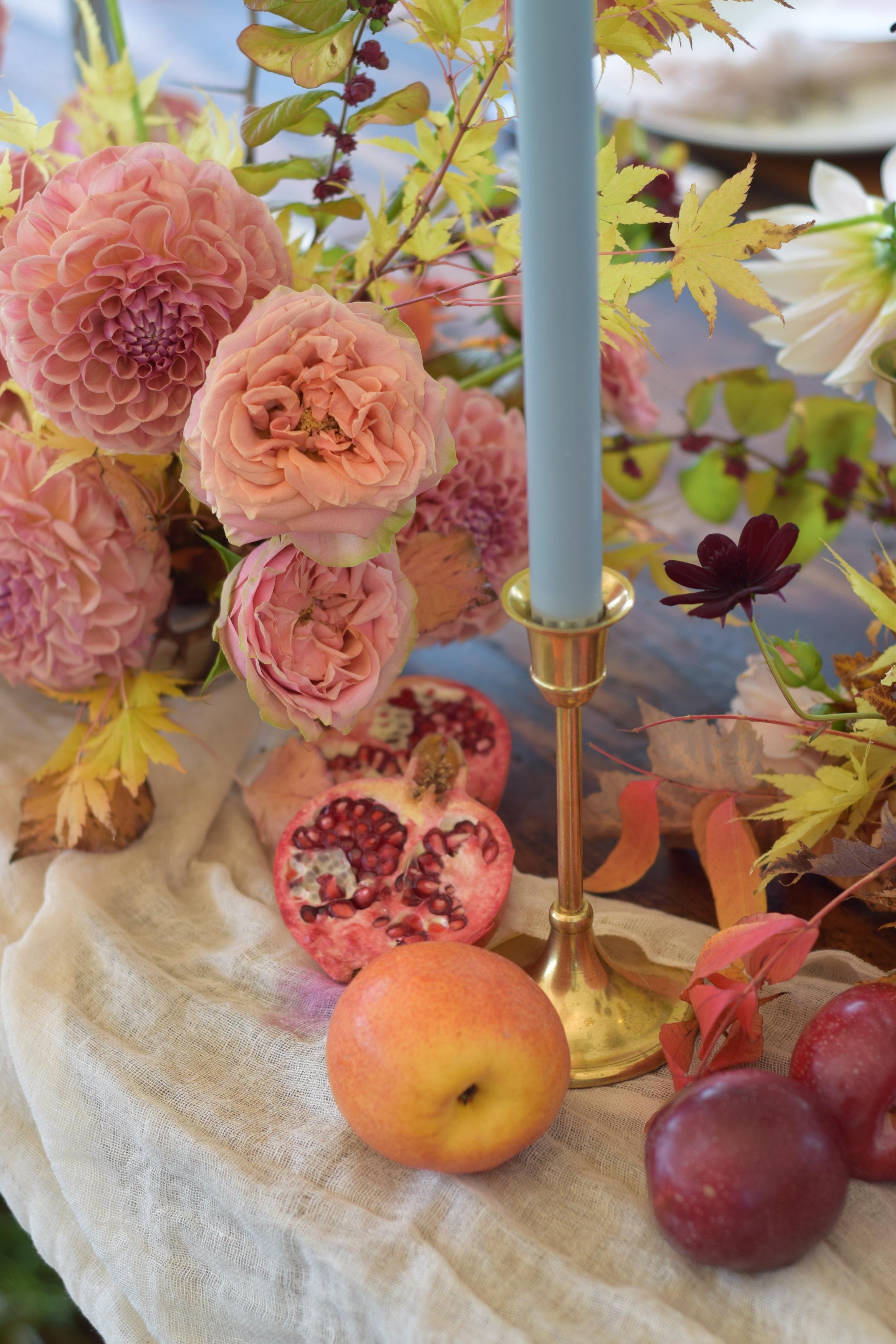 locally grown wedding flowers autumn foliage dahlias and roses