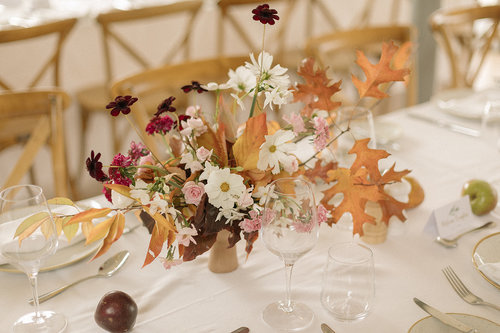 Autumn foliage wedding flowers romantic and wild garden flowers