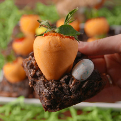 Is there  anything  cuter than a strawberry carrot patch?