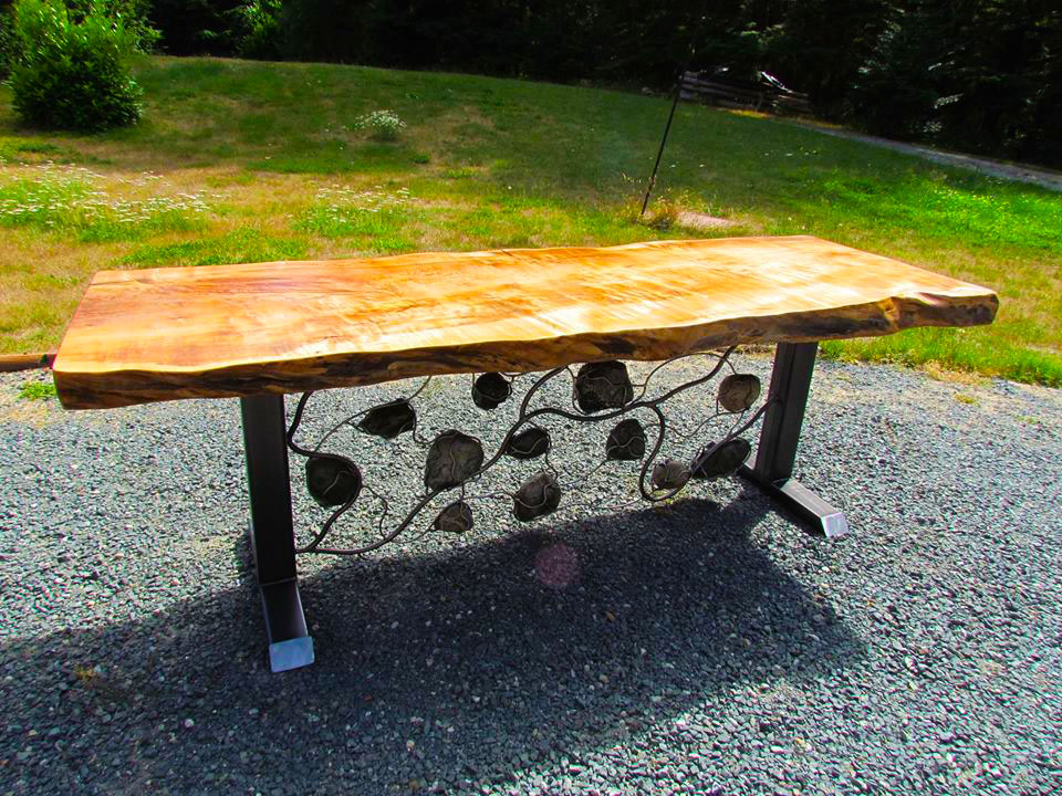 Metal Rock and Wood Table