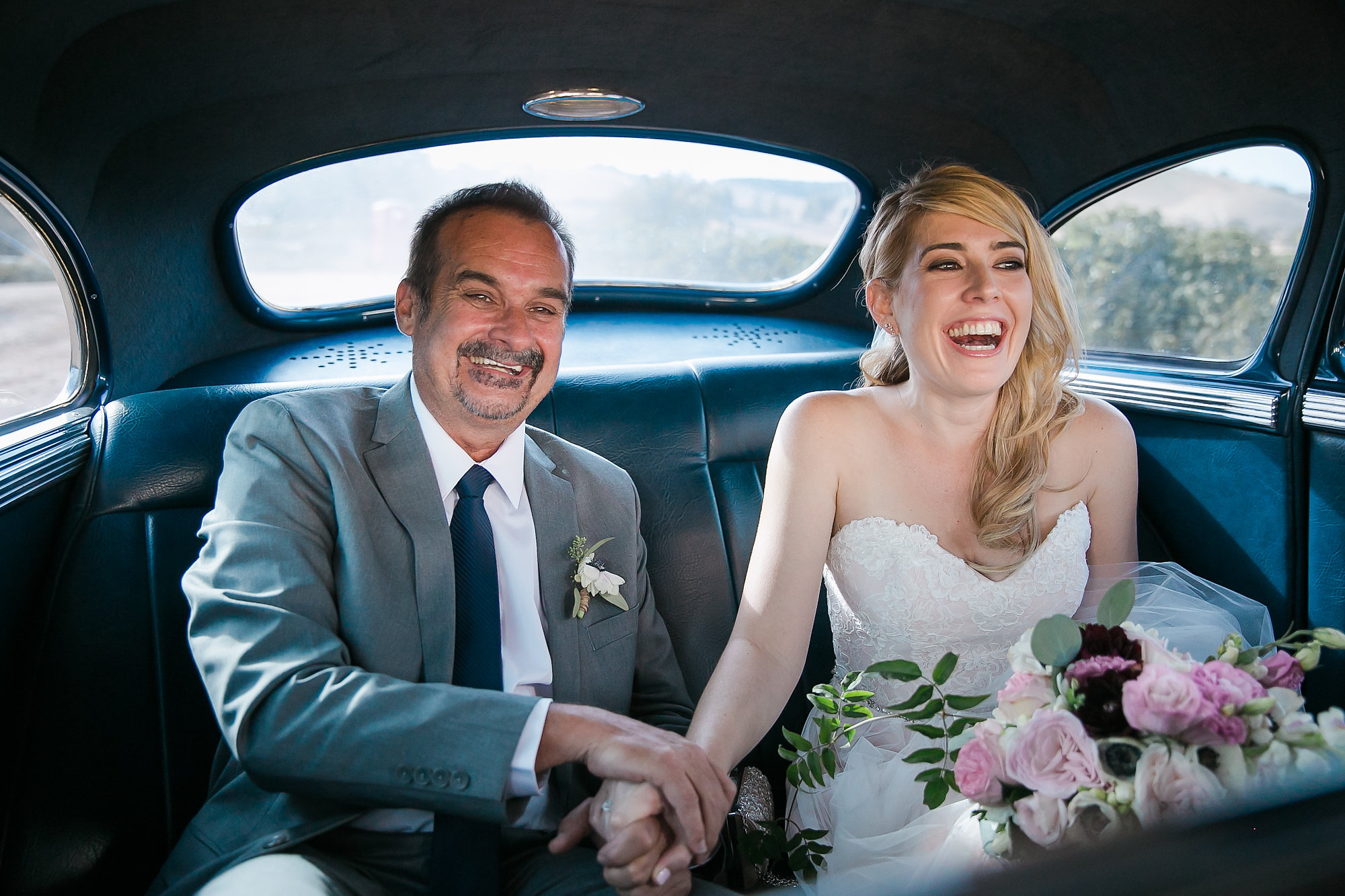 This image was taken as the bride and her father drove up to the ceremony. Leah started beaming as she pulled up to see all her guests and future husband waiting for her at the aisle. I love this image because her and her father look so connected in their body language and they both have tears in their eyes. I was able to capture this in a moving car on my 24-70 2.8L lens making sure my shutter speed was over 250/s to ensure it was sharp. This image was taken while second shooting for Christine Chang.