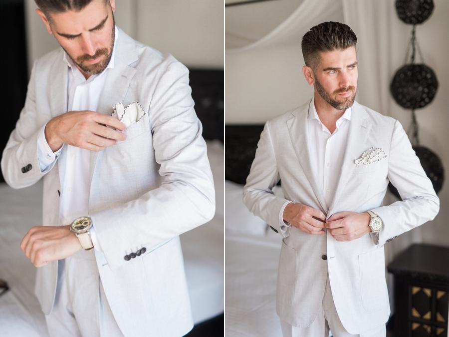 groom wearing linen suit