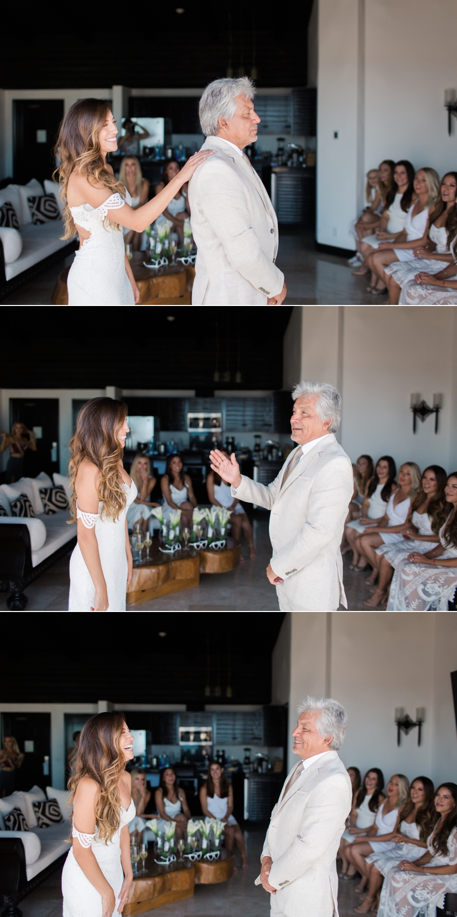 bride's first look with her dad