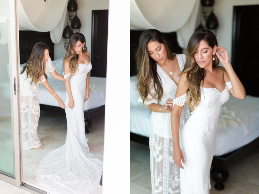 twin sisters on wedding day
