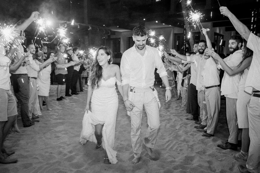 Mexico wedding sparkler exit