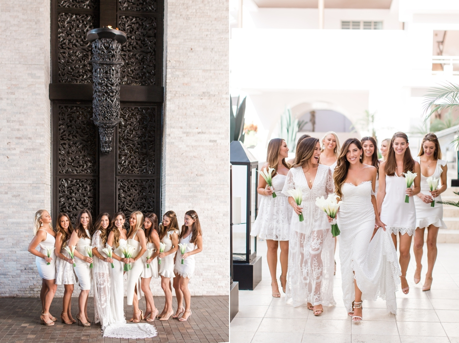 Bridal party wearing all white