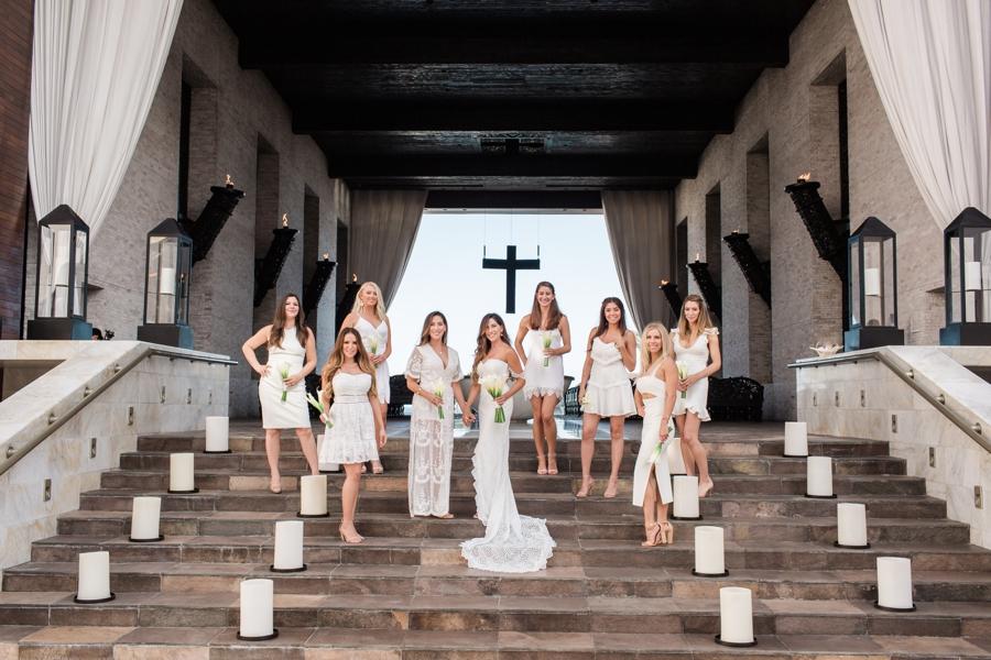 bridal party at Cabo Azul resort