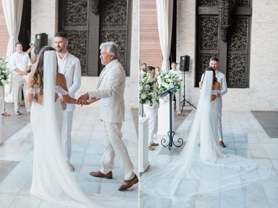 Father gives away the bride
