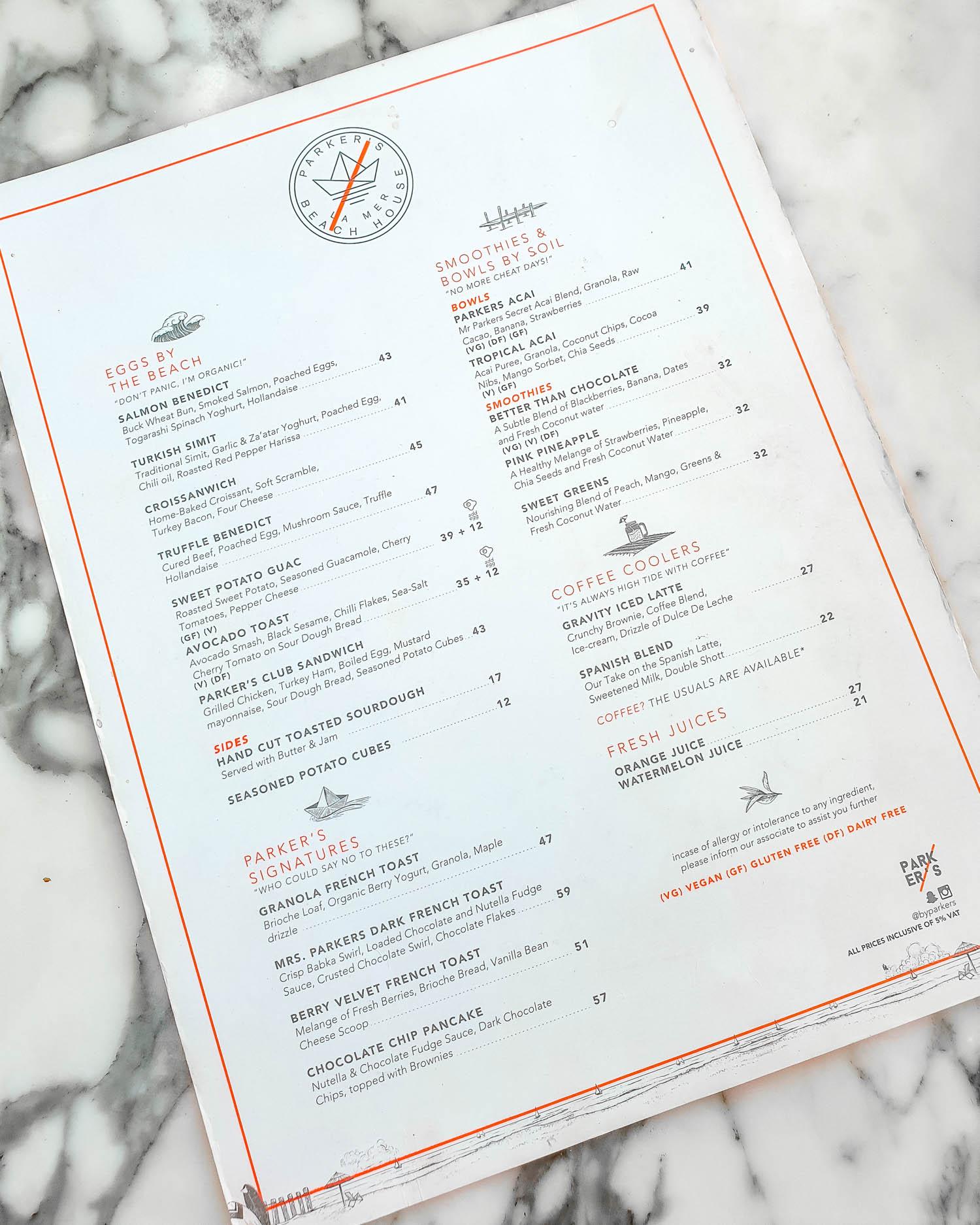 Parker's Dubai La Mer Breakfast Menu
