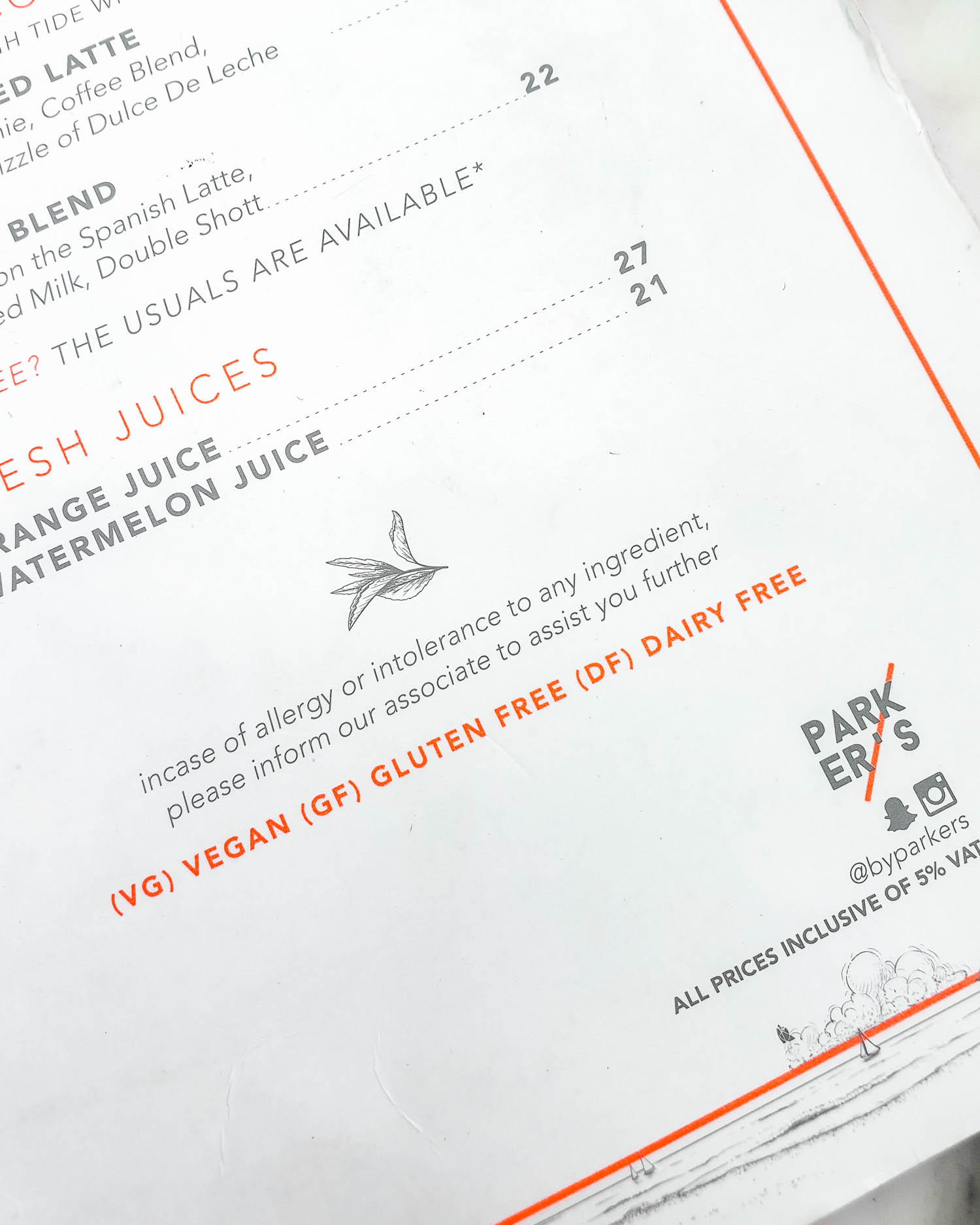 Parker's Dubai La Mer Breakfast Menu Allergy Disclaimer
